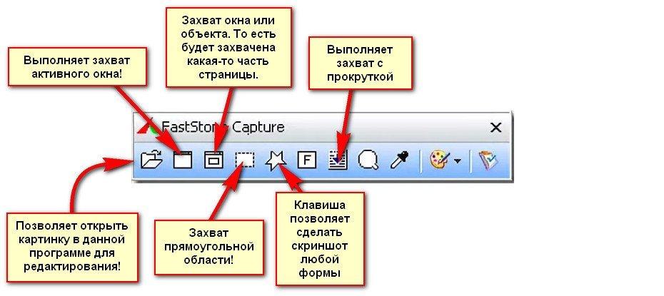 Обозначение кнопок на скриншотере