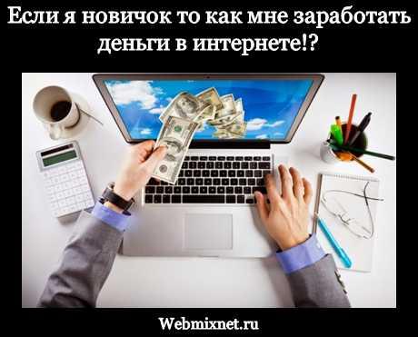 Если я новичок то как мне заработать деньги в интернете