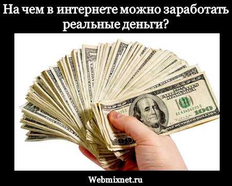 На чем в интернете можно заработать реальные деньги