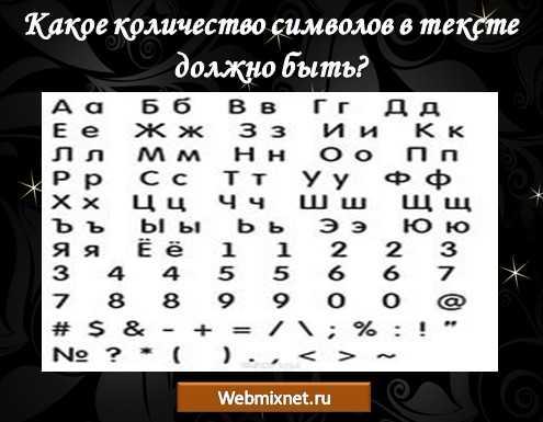 какое количество символов в тексте должно быть