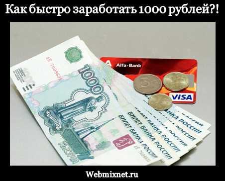 Как быстро заработать 1000 рублей в интернете без вложений сейчас?